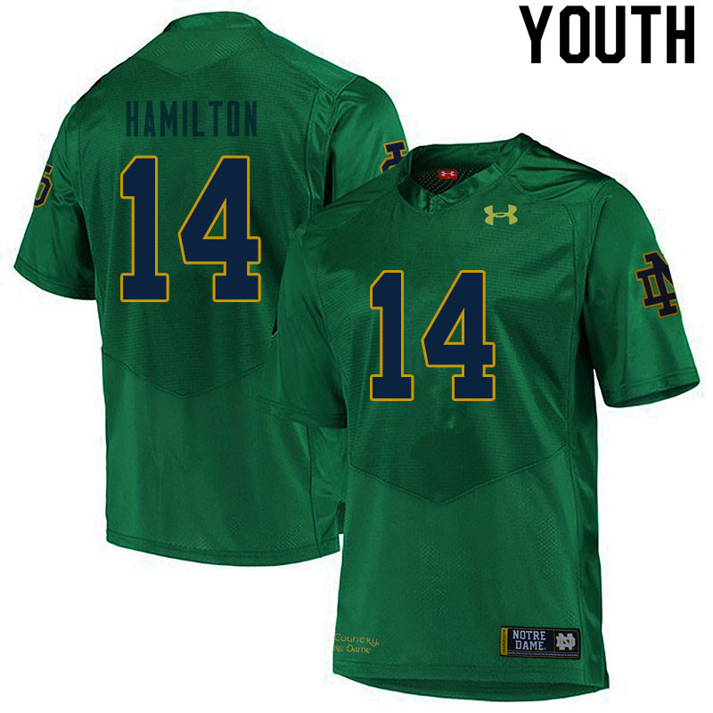 Youth #14 Kyle Hamilton Notre Dame Fighting Irish College Football Jerseys Sale-Green