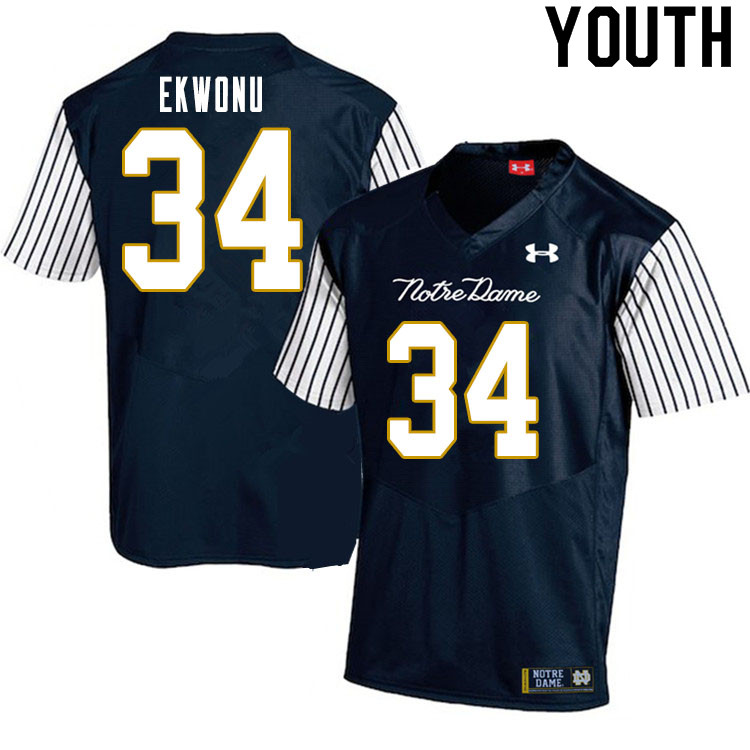 Youth #34 Osita Ekwonu Notre Dame Fighting Irish College Football Jerseys Sale-Alternate