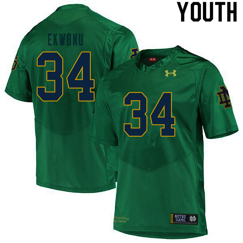Youth #34 Osita Ekwonu Notre Dame Fighting Irish College Football Jerseys Sale-Green