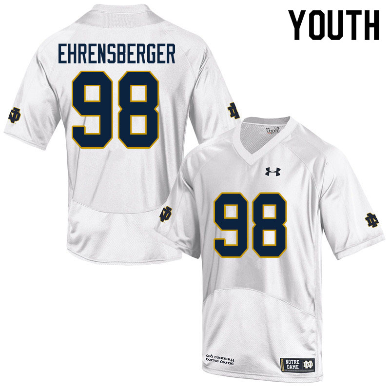Youth #98 Alexander Ehrensberger Notre Dame Fighting Irish College Football Jerseys Sale-White