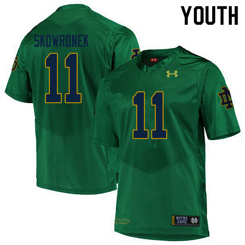 Youth #11 Ben Skowronek Notre Dame Fighting Irish College Football Jerseys Sale-Green