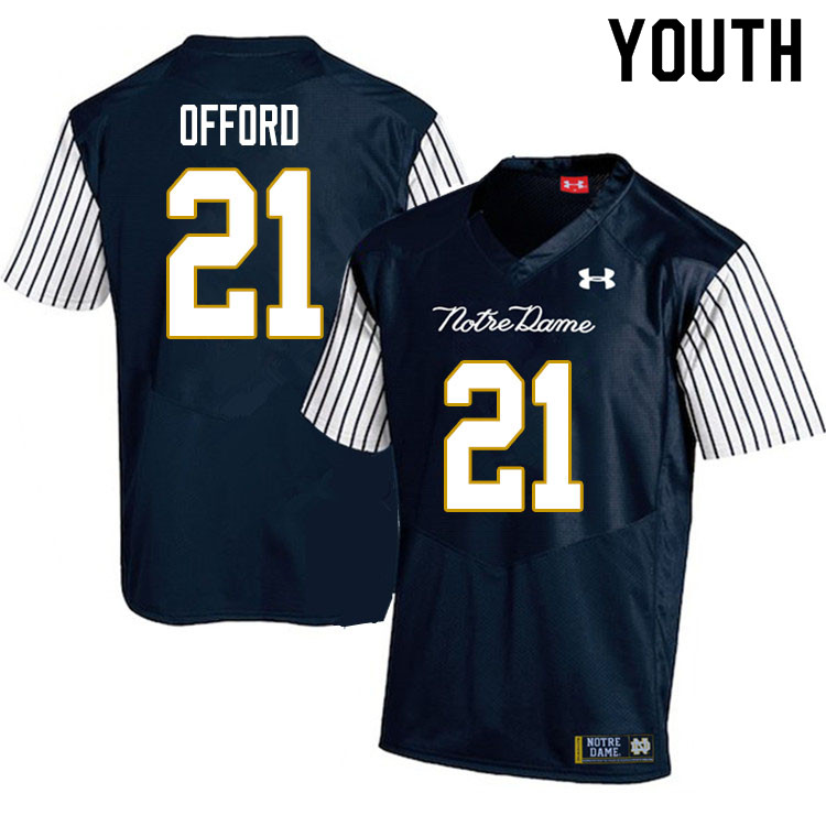 Youth #21 Caleb Offord Notre Dame Fighting Irish College Football Jerseys Sale-Alternate