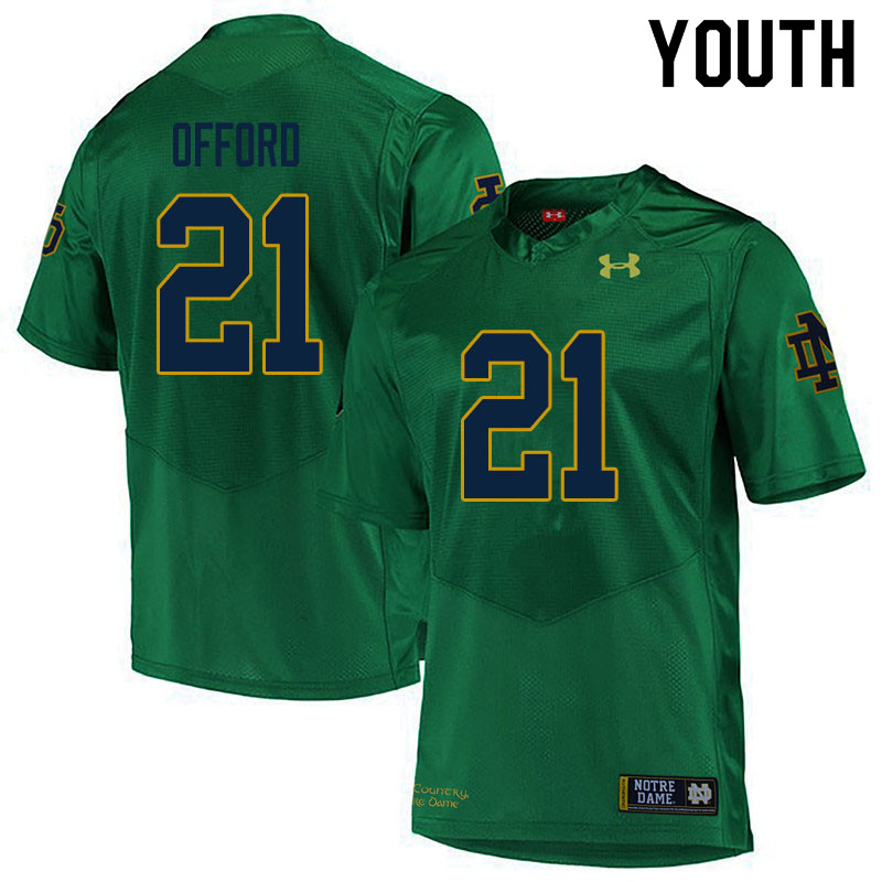 Youth #21 Caleb Offord Notre Dame Fighting Irish College Football Jerseys Sale-Green