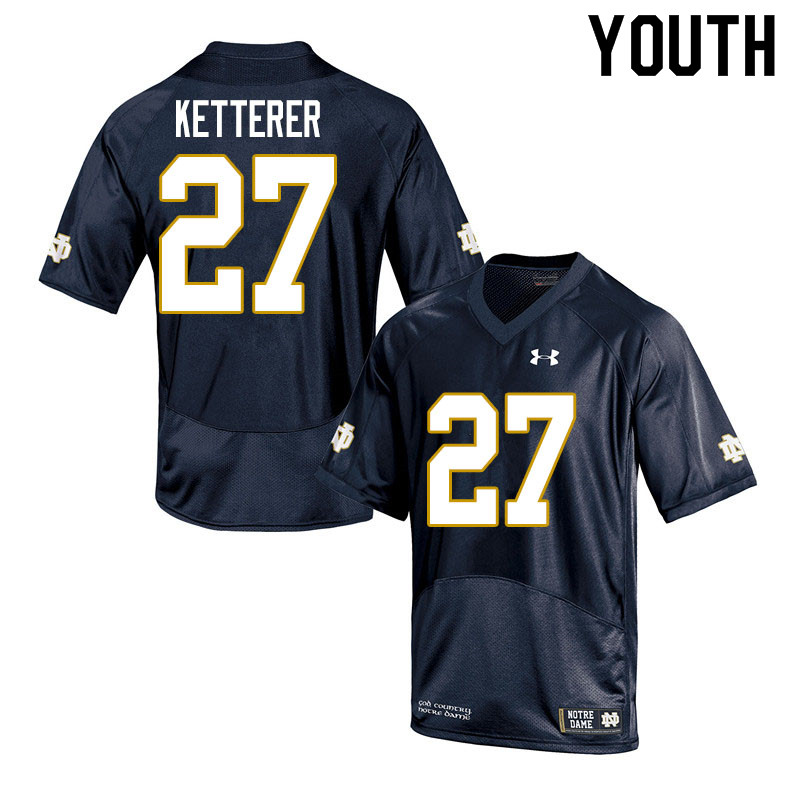 Youth #27 Chase Ketterer Notre Dame Fighting Irish College Football Jerseys Sale-Navy