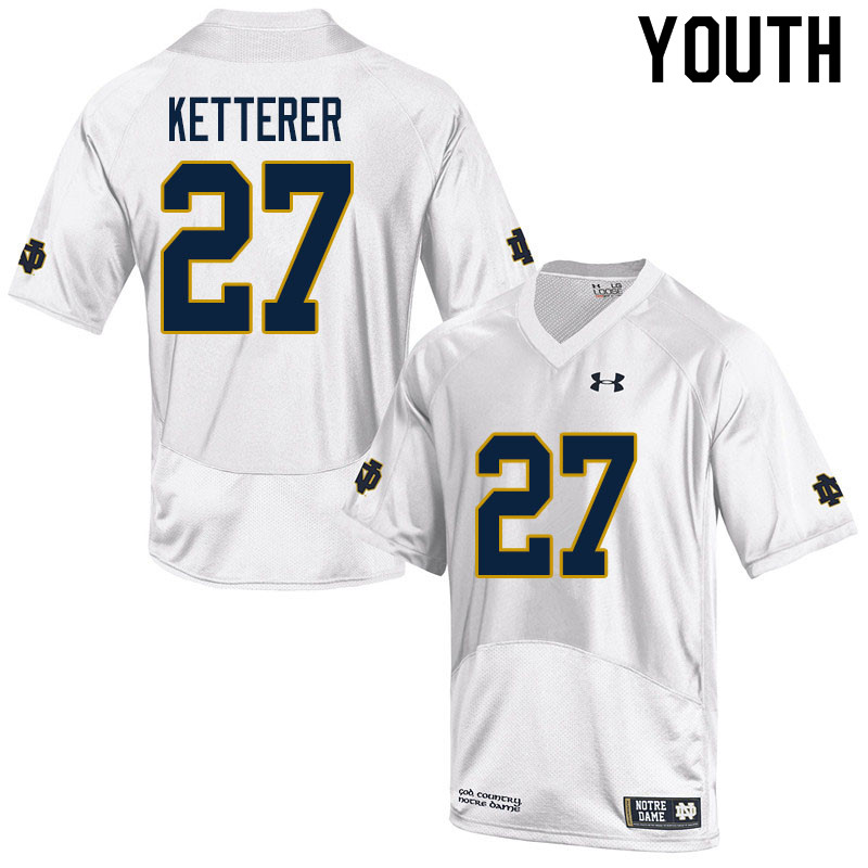 Youth #27 Chase Ketterer Notre Dame Fighting Irish College Football Jerseys Sale-White