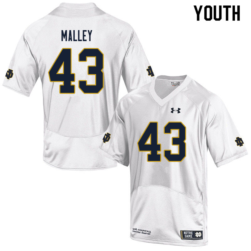 Youth #43 Greg Malley Notre Dame Fighting Irish College Football Jerseys Sale-White