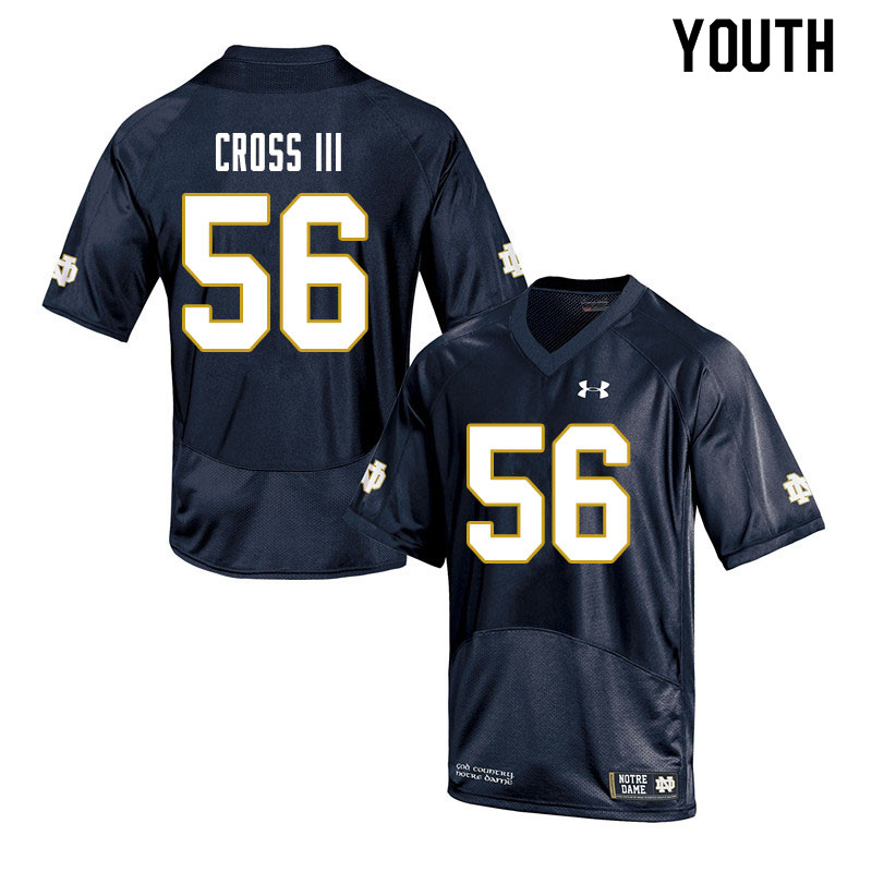 Youth #56 Howard Cross III Notre Dame Fighting Irish College Football Jerseys Sale-Navy