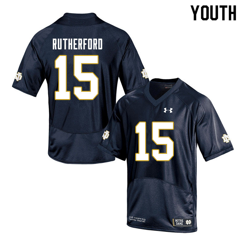 Youth #15 Isaiah Rutherford Notre Dame Fighting Irish College Football Jerseys Sale-Navy