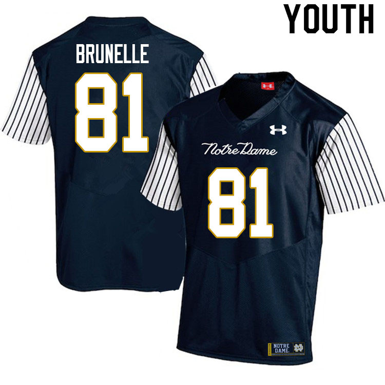 Youth #81 Jay Brunelle Notre Dame Fighting Irish College Football Jerseys Sale-Alternate