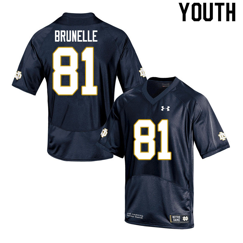 Youth #81 Jay Brunelle Notre Dame Fighting Irish College Football Jerseys Sale-Navy