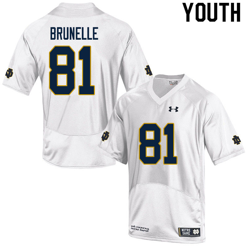 Youth #81 Jay Brunelle Notre Dame Fighting Irish College Football Jerseys Sale-White
