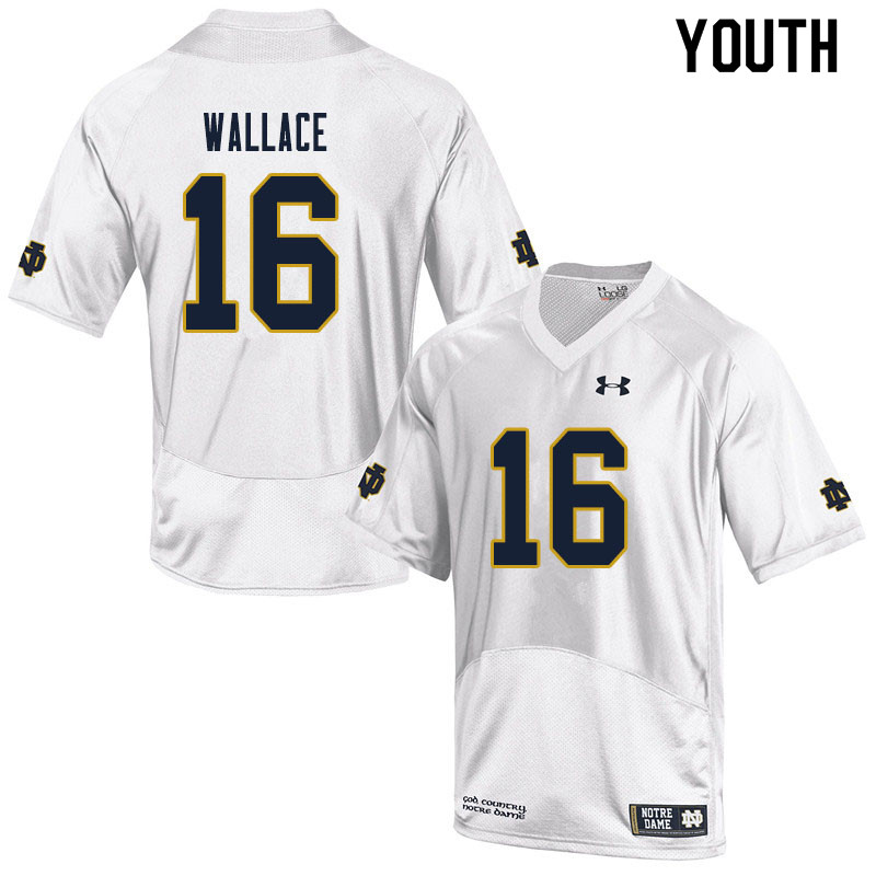 Youth #16 KJ Wallace Notre Dame Fighting Irish College Football Jerseys Sale-White