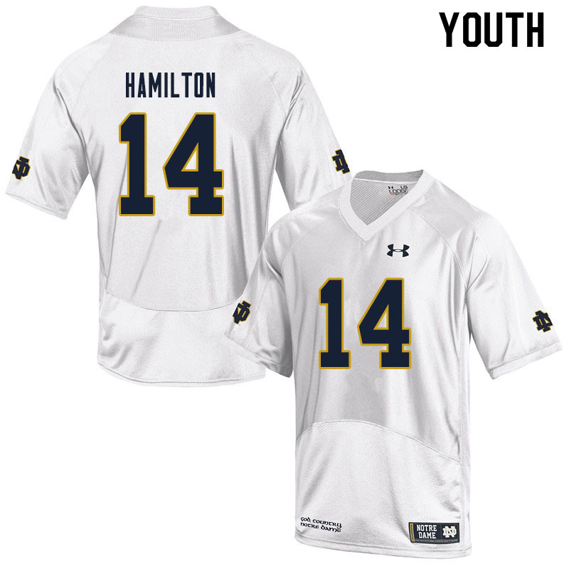 Youth #14 Kyle Hamilton Notre Dame Fighting Irish College Football Jerseys Sale-White
