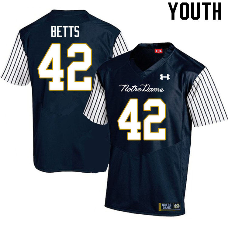 Youth #42 Stephen Betts Notre Dame Fighting Irish College Football Jerseys Sale-Alternate