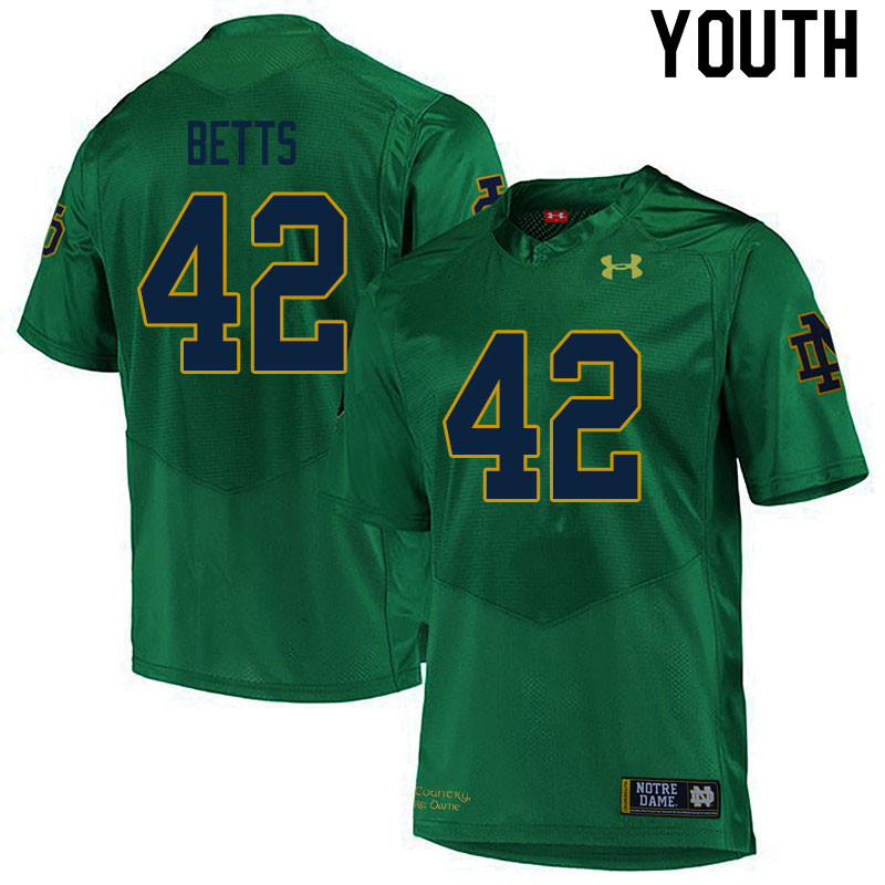 Youth #42 Stephen Betts Notre Dame Fighting Irish College Football Jerseys Sale-Green